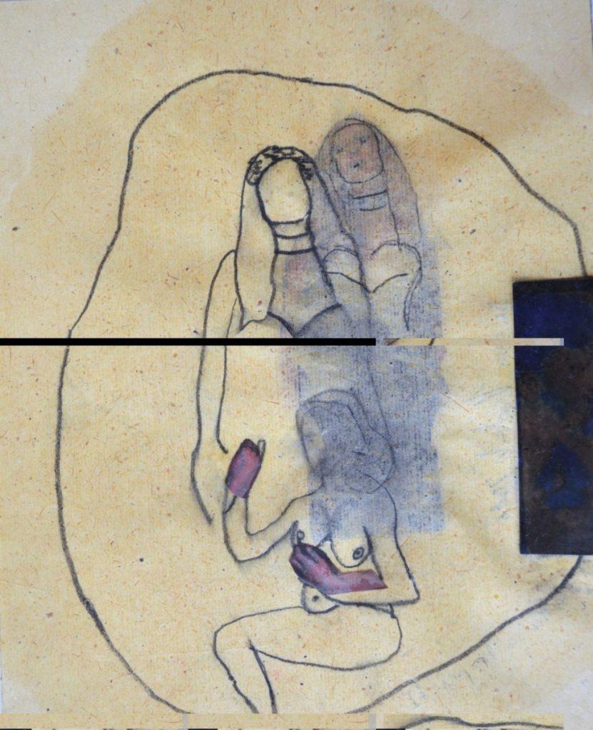 Barbara Herbert: Zärtliches Pompeji Ia [Tender Pompeji] (2016). 24 x 19 cm, Collage, Drawing with oil.