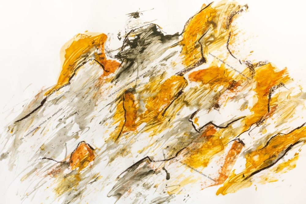 Peter Tepe: Serie 3, Nr. 6  (2019). Diverse Materialien auf Papier (100 x 69,8 cm). Foto: Mauritz Tepe.